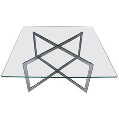 Square Mid-Century Modern Chrome X-Base Glass Top Coffee Table after Baughman