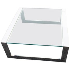 Square Mid-Century Modern Italian Glass Top Chromed Steel Cocktail Table