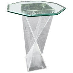 Square Mid-Century Modern Lucite Pedestal Table