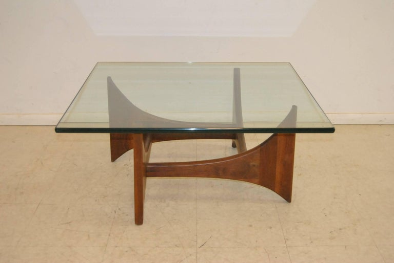 20th Century Square Mid Modern Walnut And Gl Coffee Table By Adrian Pearsall For
