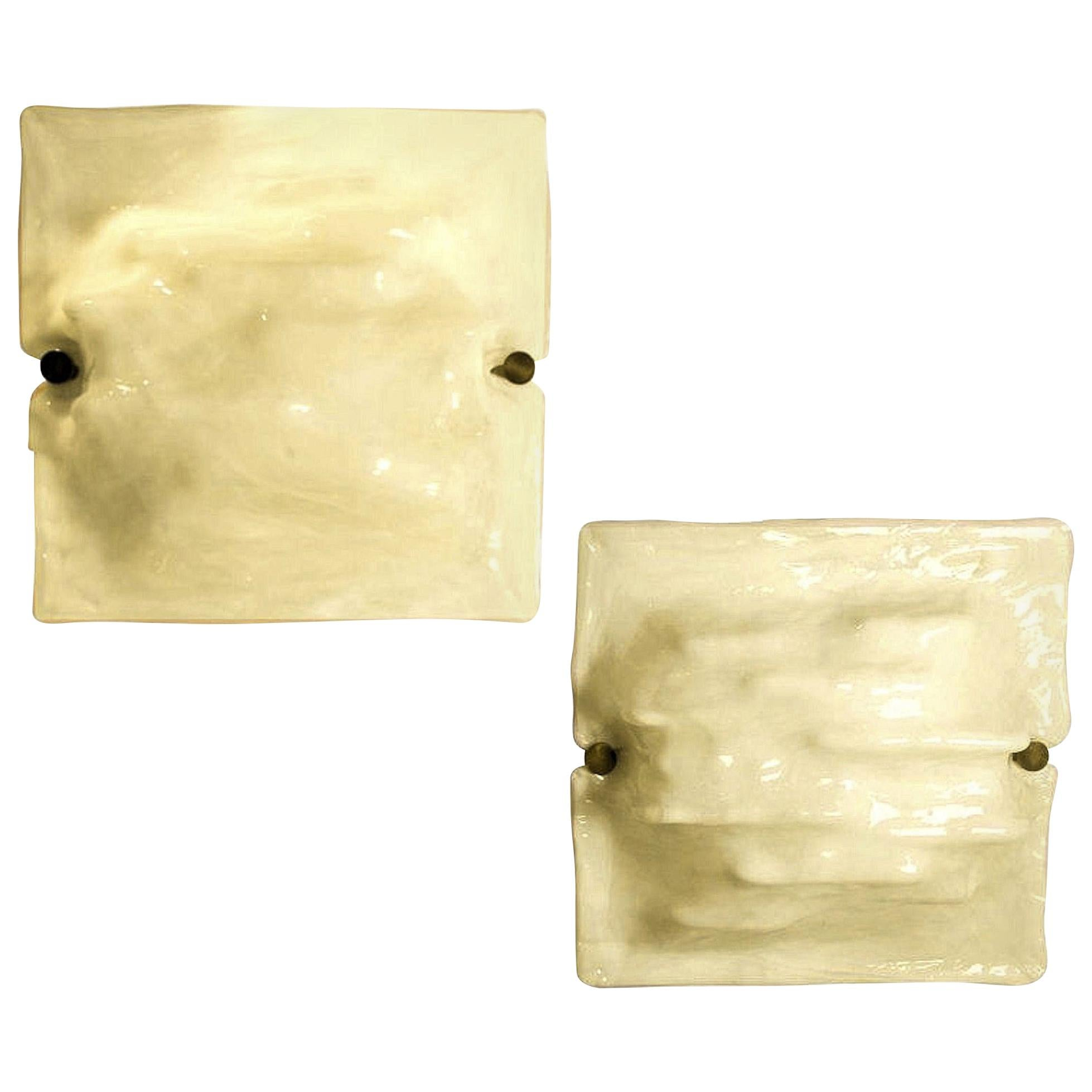 Square Mid-Century Modern White Murano Glass Wall Sconces, Signed Venini, 1970s
