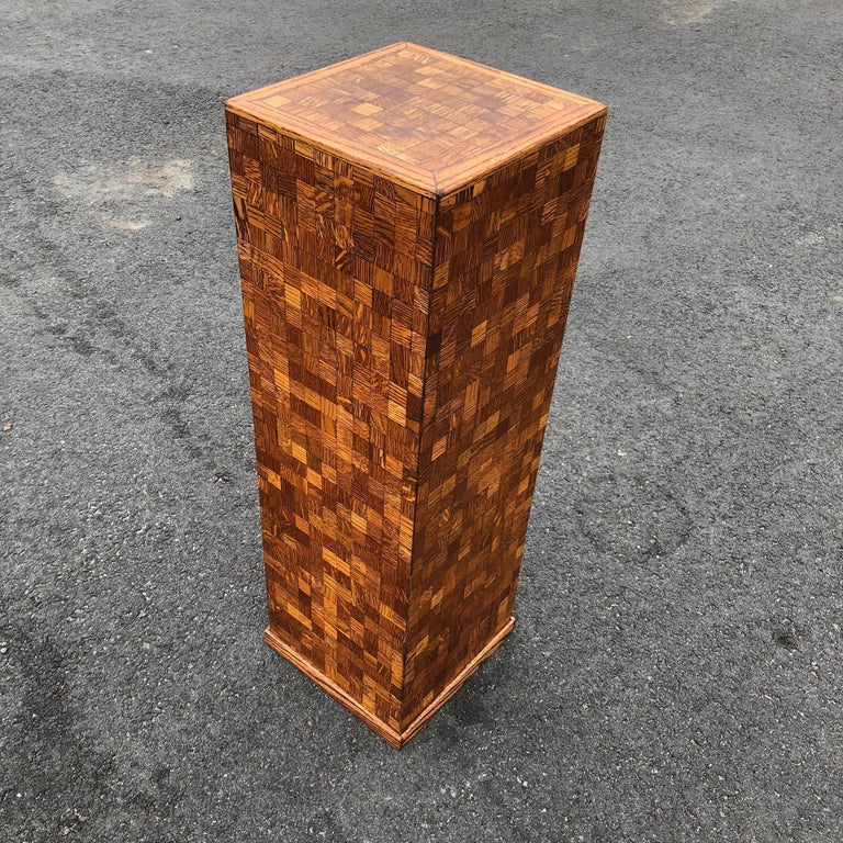 Square Mid-Century Modern Wooden Pedestal with Mosaic Wooden Tile Design For Sale 4