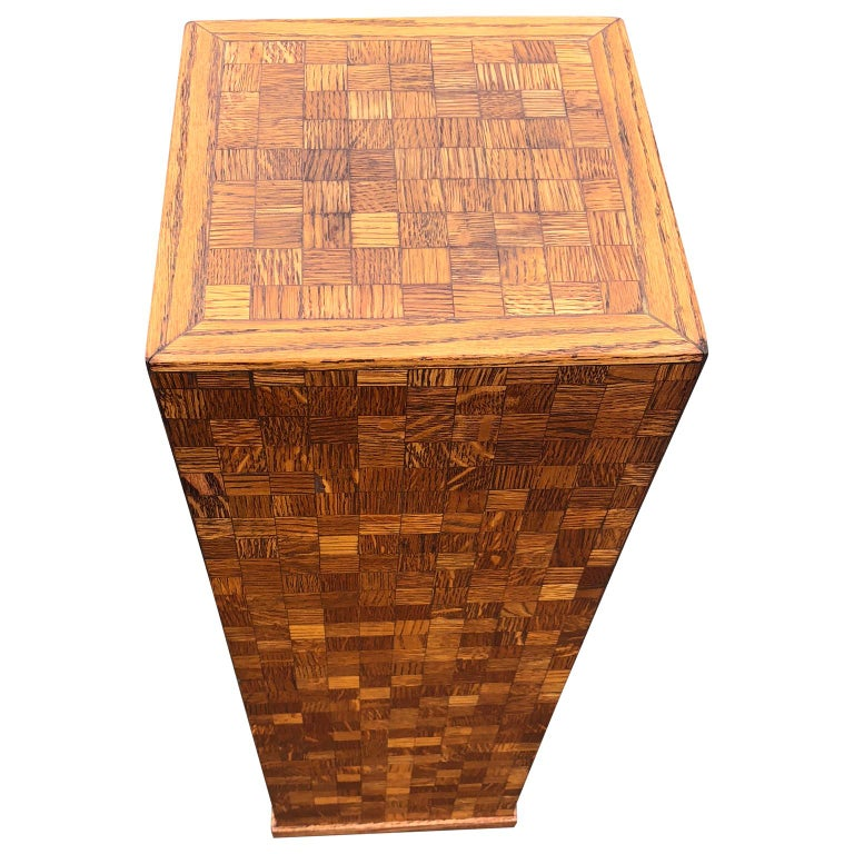 American Square Mid-Century Modern Wooden Pedestal with Mosaic Wooden Tile Design For Sale