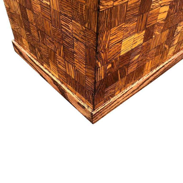 Hand-Crafted Square Mid-Century Modern Wooden Pedestal with Mosaic Wooden Tile Design For Sale