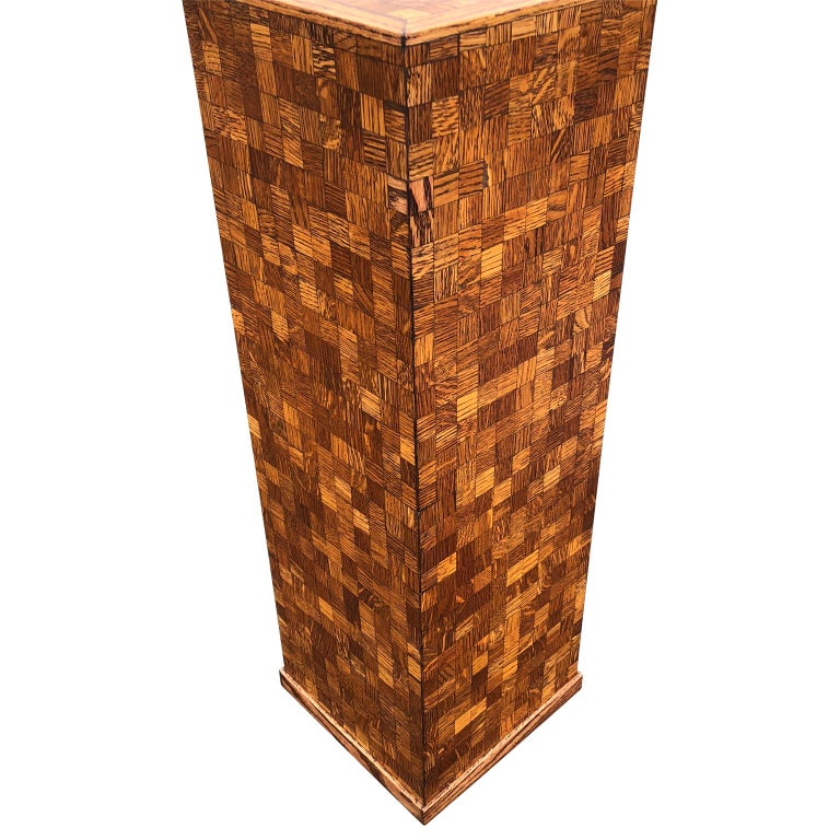 Square Mid-Century Modern Wooden Pedestal with Mosaic Wooden Tile Design In Good Condition For Sale In Haddonfield, NJ