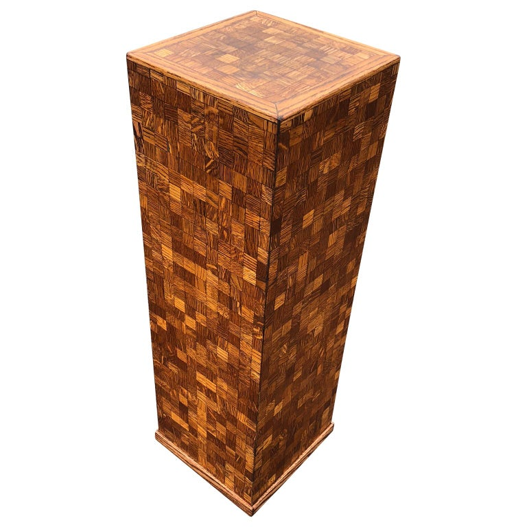 20th Century Square Mid-Century Modern Wooden Pedestal with Mosaic Wooden Tile Design For Sale