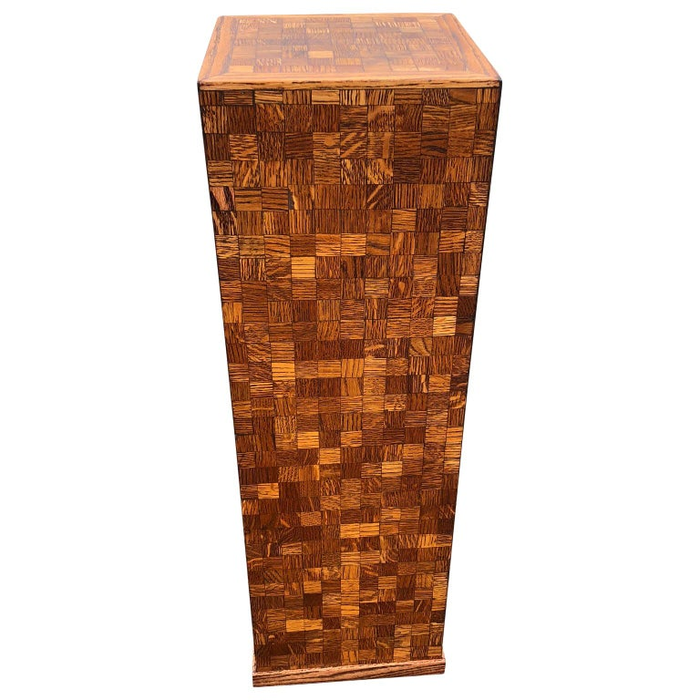 Square Mid-Century Modern Wooden Pedestal with Mosaic Wooden Tile Design For Sale