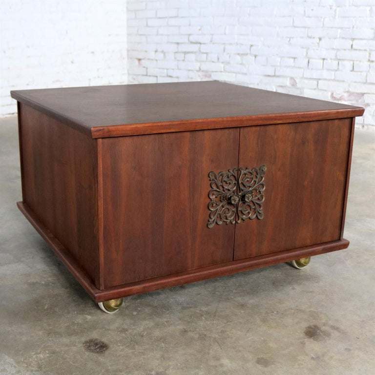 Square Midcentury Walnut Rolling End Table Storage Cabinet ...