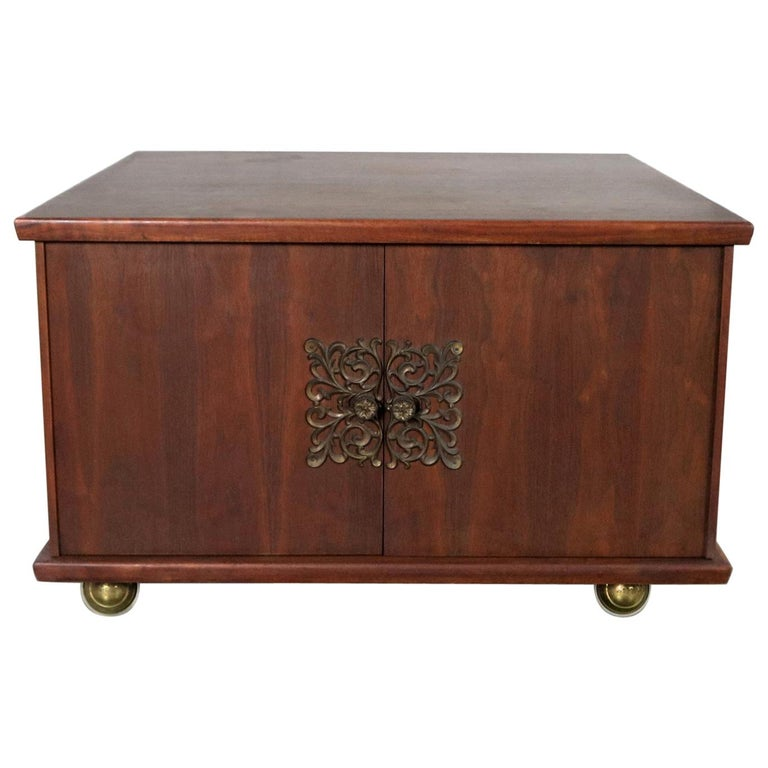 Square Midcentury Walnut Rolling End Table Storage Cabinet On Br Ball Caster For