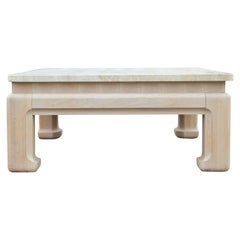 Square Ming Modern Travertine Coffee Table with Bleached Cerused Oak Base