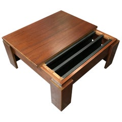 Square Minimalist Midcentury Teak Coffee Table with Twin Magazine Pockets