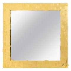 Square Mirror in Gilt Brass, Contemporary Work