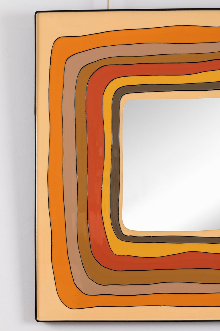 Mid-Century Modern Square Mirror, Italy, 1970