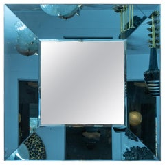 Square Mirror with Deep Blue Glass Surround