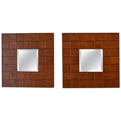 Square Mirrors Pair in Hand Carved Wood Relief, 1960s, Italy