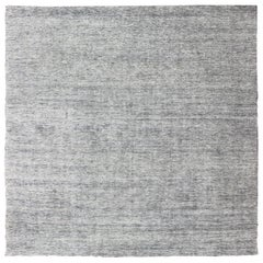 Square Modern Rug in Solid White Color with Distressed Pile and Charcoal Weft