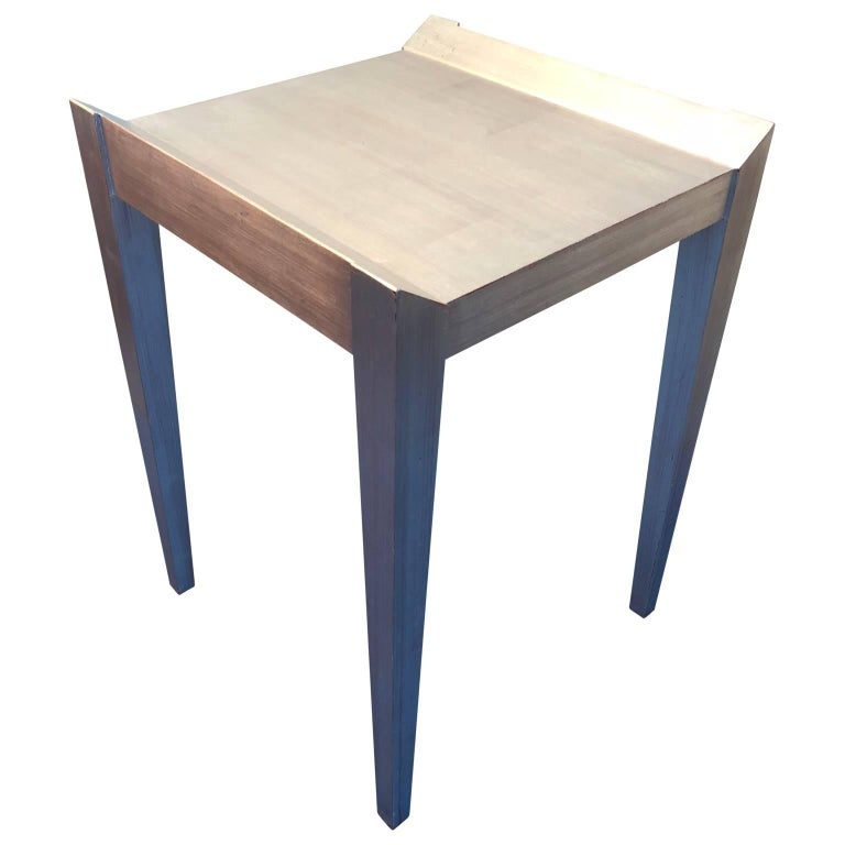 Square Modern Silver Leaf Side Table By Decca
