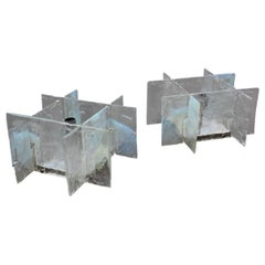 Square Modernist Brutalis Pair Wall Sconces Murano Mazzega Glass Iridescent