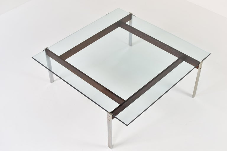 Steel Square Modernist Coffee Table from the 1950s For Sale