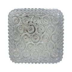 Square Molded Glass Flower Motif Flush Mount
