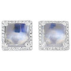 Square Moonstone and Diamond Stud Earrings