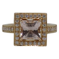 Square Morganite and Diamond Cluster Ring 18 Karat Rose Gold