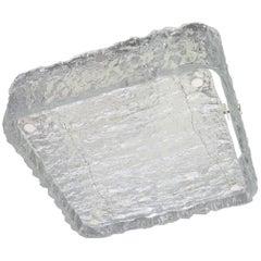 1 of 4 Square Murano Ice Glass Flush Mount, Kaiser, Germany, 1970s