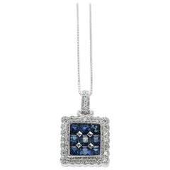 Square Mystery Set 9 Stone Sapphire Pendant Necklace with Diamonds, 18K White