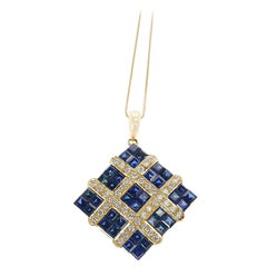Square Mystery Set Sapphire Pendant Necklace with Diamonds, 18 Karat Yellow Gold