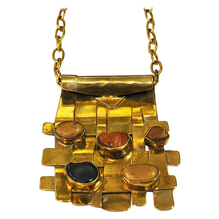 Square Nature Stone and Brass Necklace by Anna Greta Eker, Norway, 1960s For Sale
