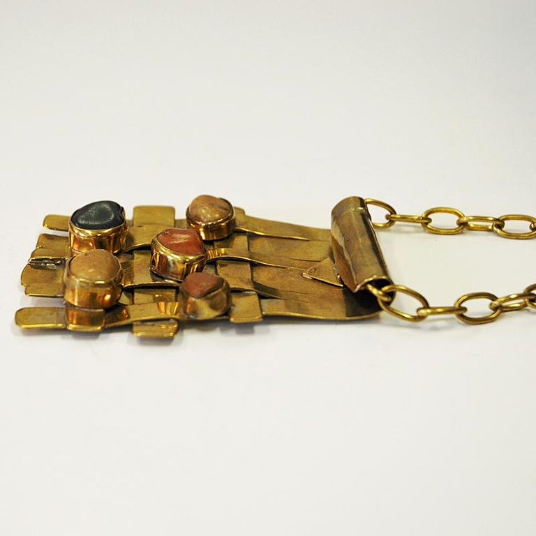 Scandinavian Modern Square Nature Stone and Brass Necklace by Anna Greta Eker, Norway, 1960s For Sale
