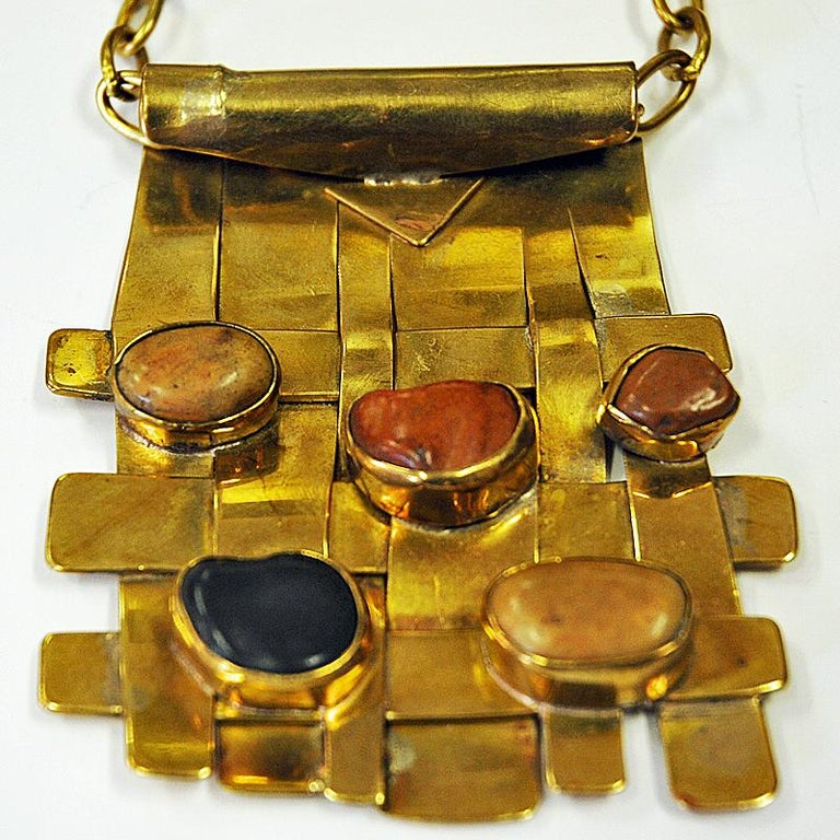 Norwegian Square Nature Stone and Brass Necklace by Anna Greta Eker, Norway, 1960s For Sale