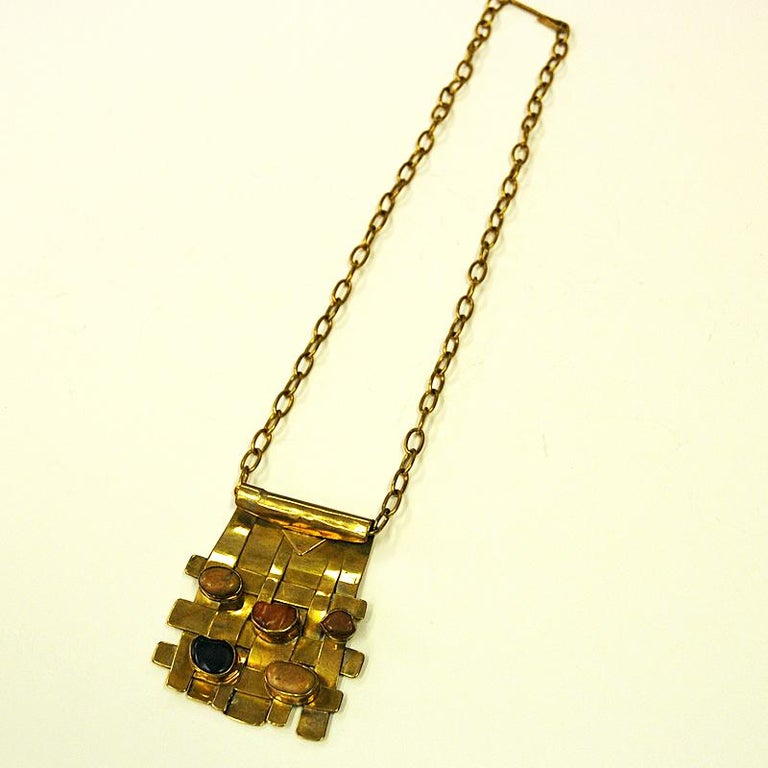 Polished Square Nature Stone and Brass Necklace by Anna Greta Eker, Norway, 1960s For Sale