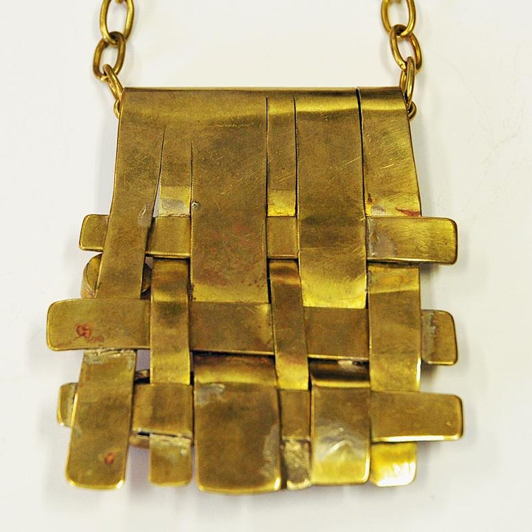 Square Nature Stone and Brass Necklace by Anna Greta Eker, Norway, 1960s In Good Condition For Sale In Stockholm, SE