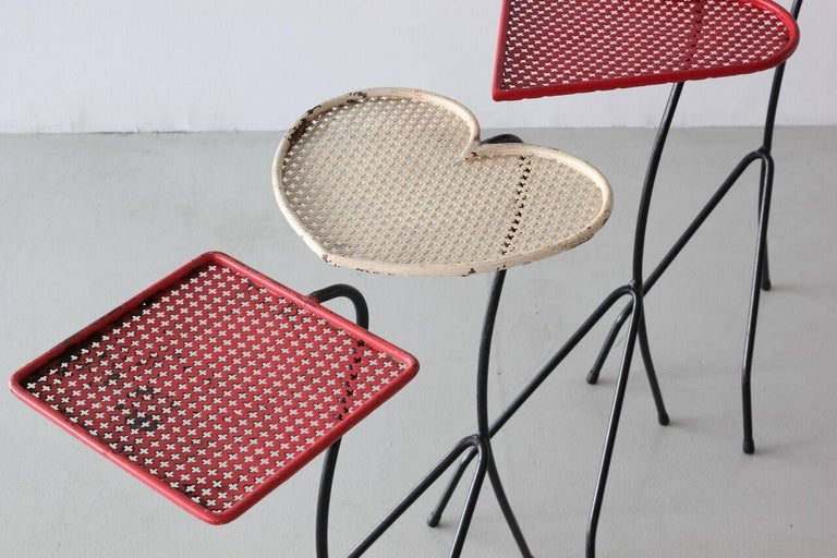 French Square of Aces, Nesting Tables Attributed to Mathieu Matégot For Sale