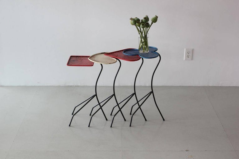 Square of Aces, Nesting Tables Attributed to Mathieu Matégot In Good Condition For Sale In Los Angeles, CA