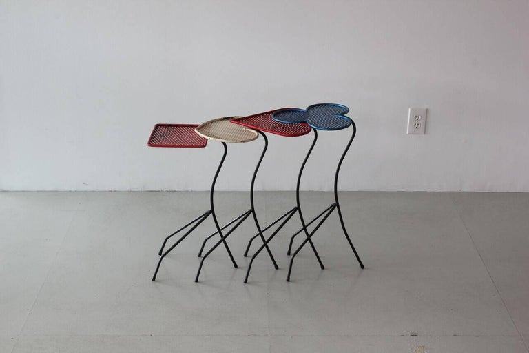Mid-20th Century Square of Aces, Nesting Tables Attributed to Mathieu Matégot For Sale