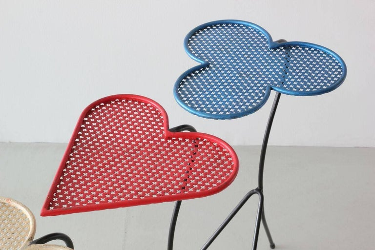Iron Square of Aces, Nesting Tables Attributed to Mathieu Matégot For Sale