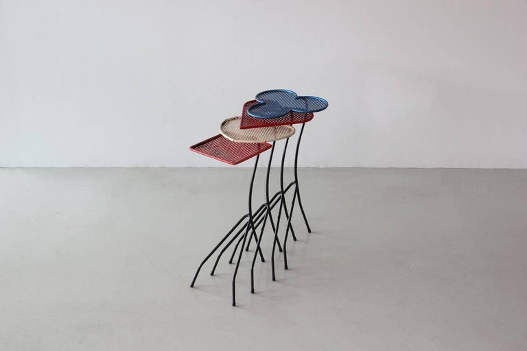 Square of Aces, Nesting Tables Attributed to Mathieu Matégot For Sale 2