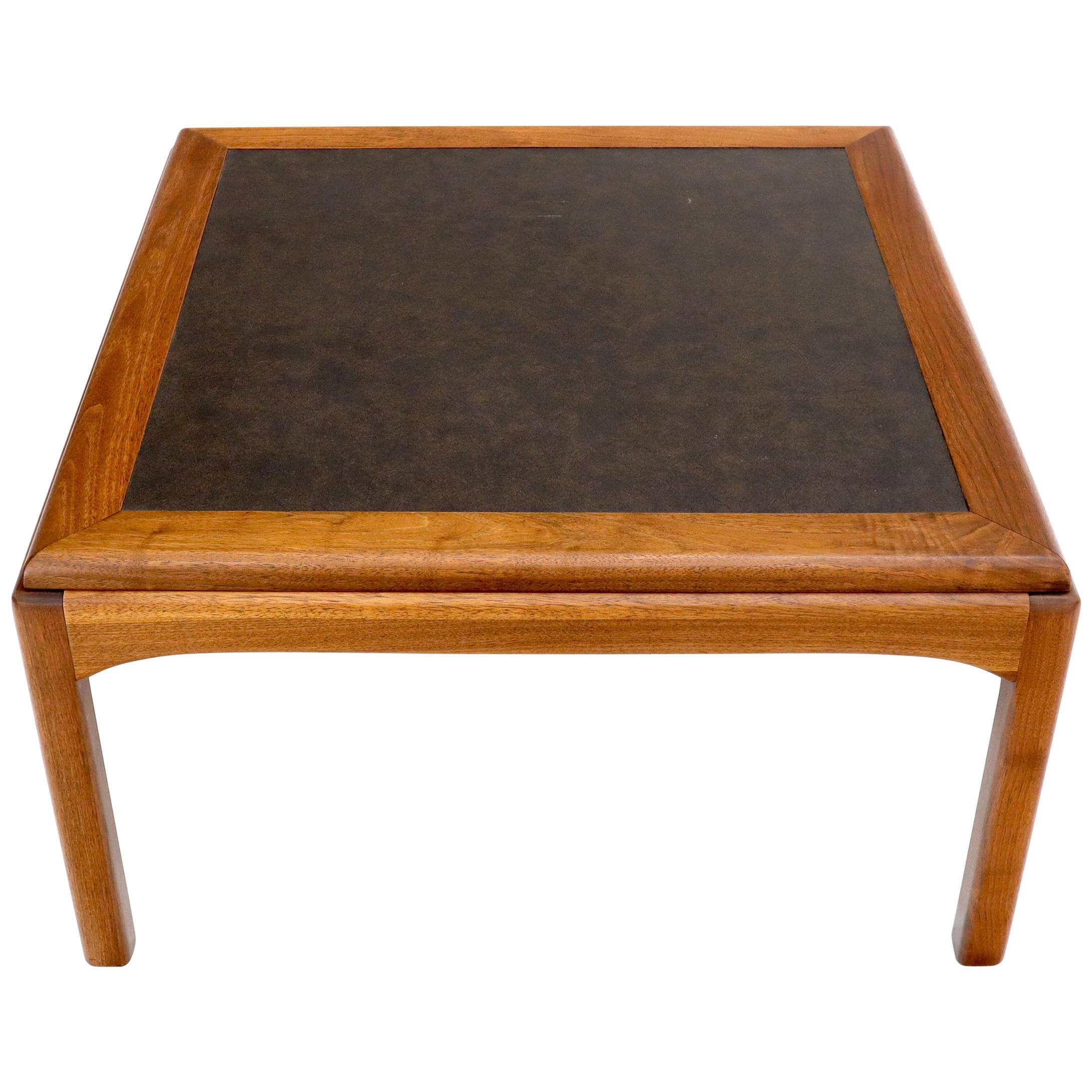 Square Oiled Walnut Faux Slate Top Coffee Table