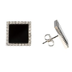 Square Onyx and White Diamond Earrings in 18 Karat White Gold