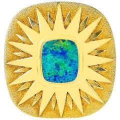 Square Opal Star Brooch Pin, 18 Karat Yellow Gold