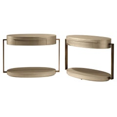 Square Oval Support Table with One Drawer