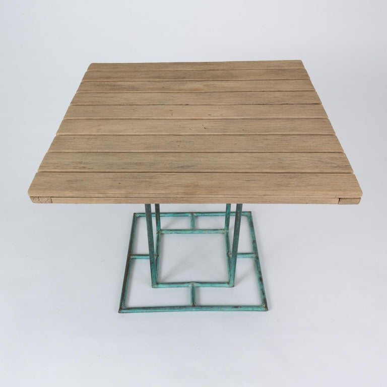 Square Patio Dining Table with Wooden Top by Walter Lamb for Brown Jordan 10