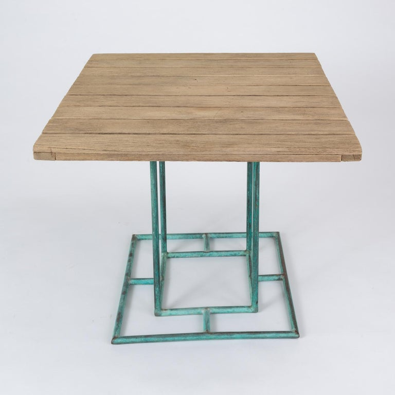 Square Patio Dining Table with Wooden Top by Walter Lamb for Brown Jordan 11