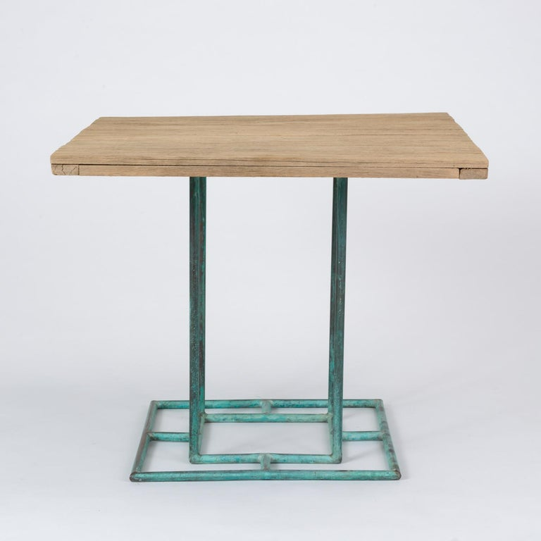 Square Patio Dining Table with Wooden Top by Walter Lamb for Brown Jordan 12