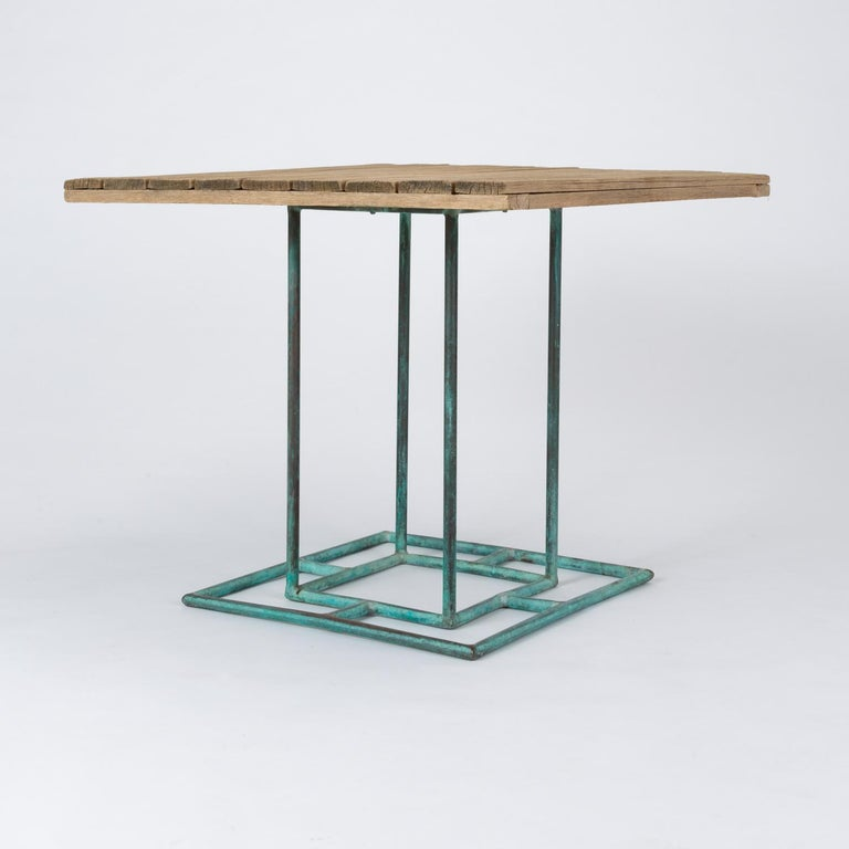 Square Patio Dining Table with Wooden Top by Walter Lamb for Brown Jordan 2