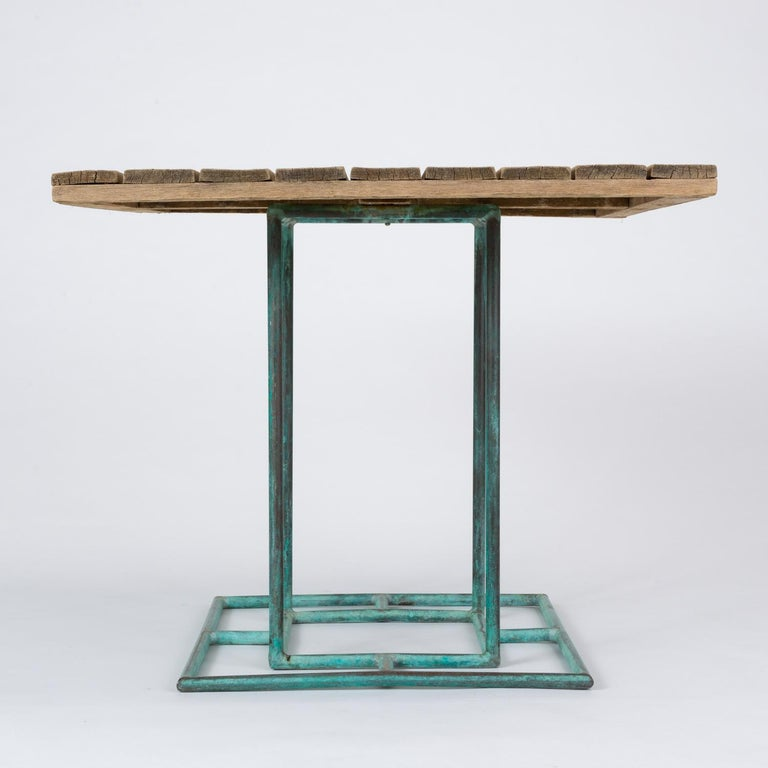 Square Patio Dining Table with Wooden Top by Walter Lamb for Brown Jordan 3