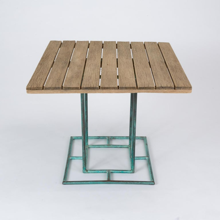 Square Patio Dining Table with Wooden Top by Walter Lamb for Brown Jordan 7