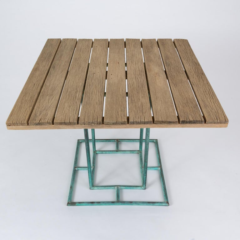 Square Patio Dining Table with Wooden Top by Walter Lamb for Brown Jordan 8